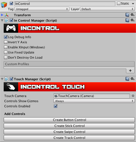 InControlManager and TouchManager inspectors